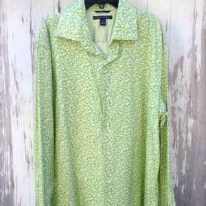 Banana Republic Suit Dress Shirt Green Floral